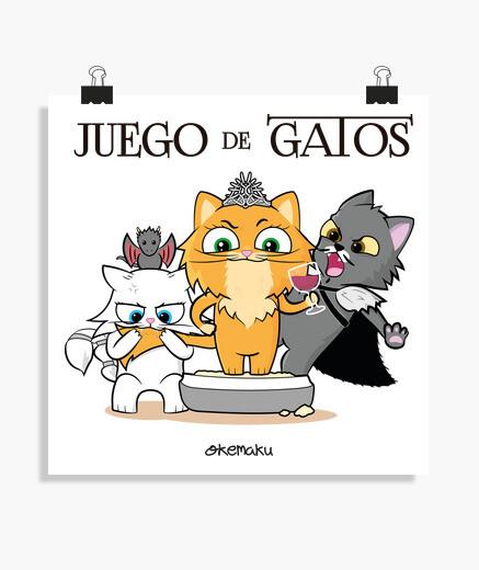 Póster Juego de Tronos con Gatos, Negro