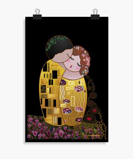 Póster Kokeshi El Beso estilo Klimt