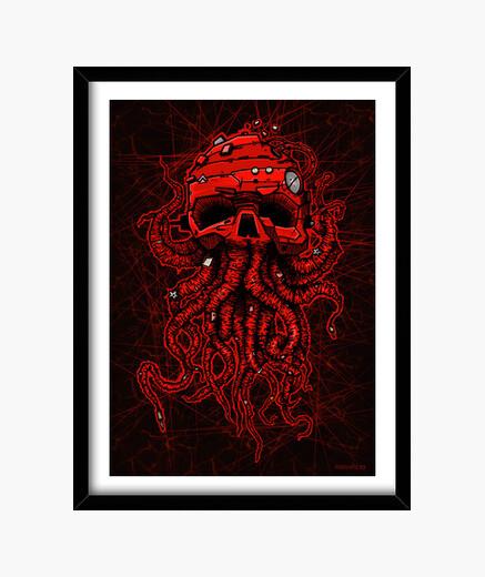 Cuadro kraken rojo
