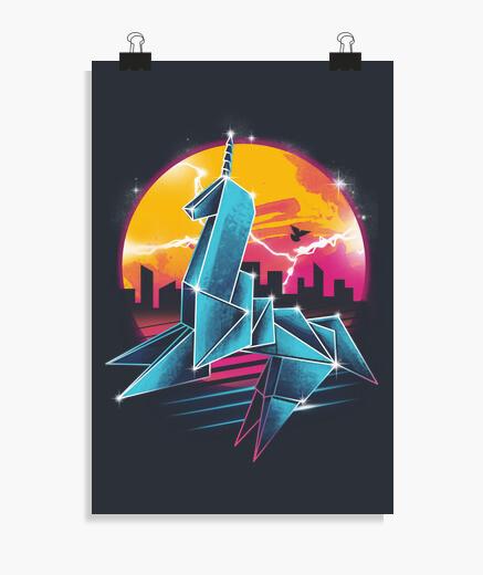 Poster l39origami argenté