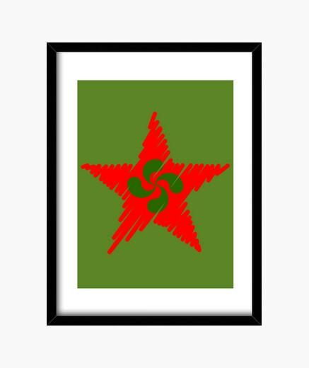 Cuadro Lauburu Estrella Roja Trazos