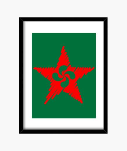 Lauburu red star strokes 2 framed print