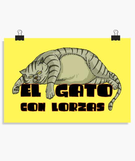 Poster le chat aux longes grises