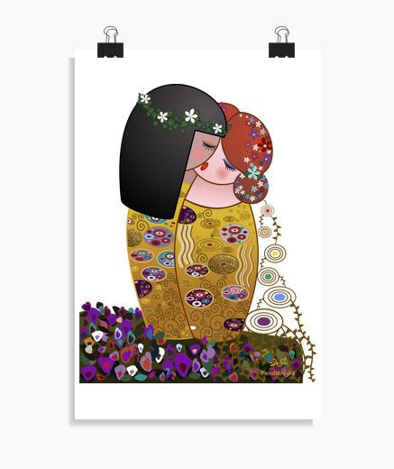 Poster Le Kokeshi lesbica ells lo stile Klimt