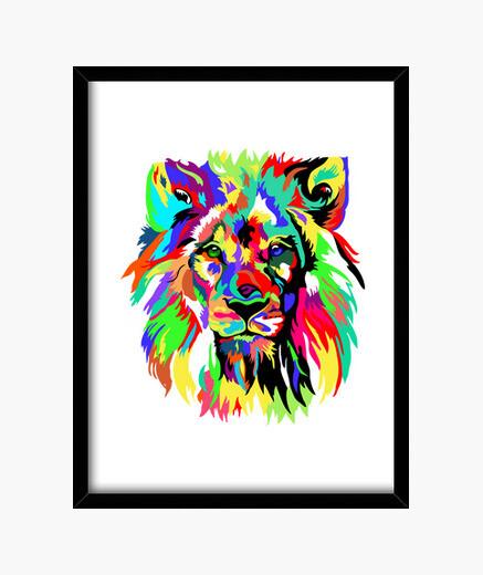 Cuadro león colorido
