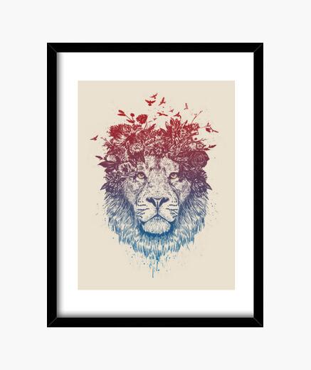 Cuadro león floral iii