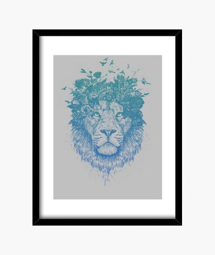 Quadro leone floreale