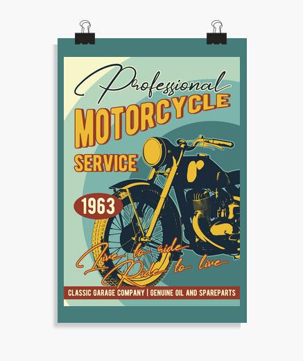 Póster Lienzo Biker Motorcycle 1963...