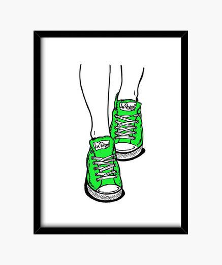 Lime green sneakers framed print
