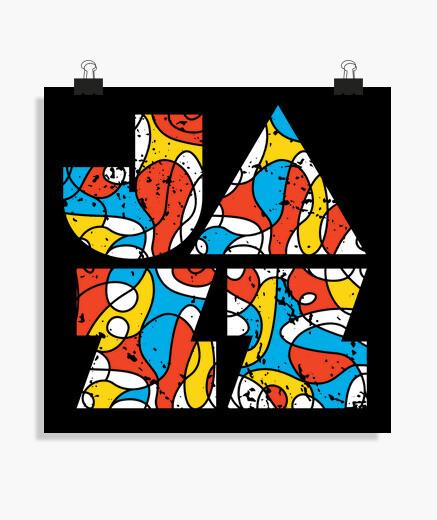 Poster logotipo moderno colorato di jazz