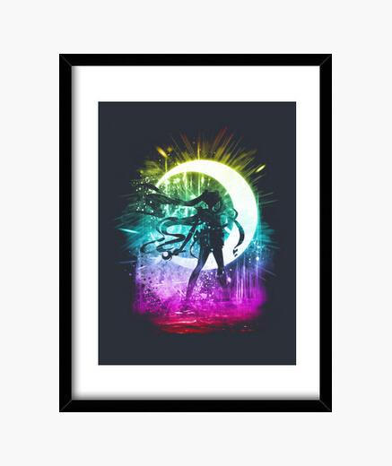Cuadro luna versión de la tormenta arco iris