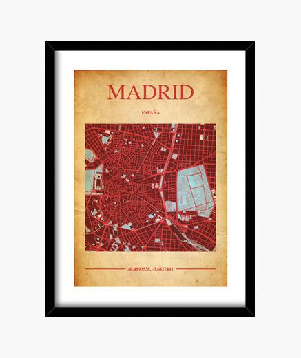Quadro madrid map - frame con cornice verticale nera 3: 4 (15 x 20 cm)