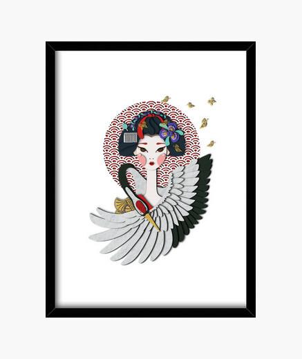 Cuadro Maiko: Aprendiz de Geisha, garza y mari