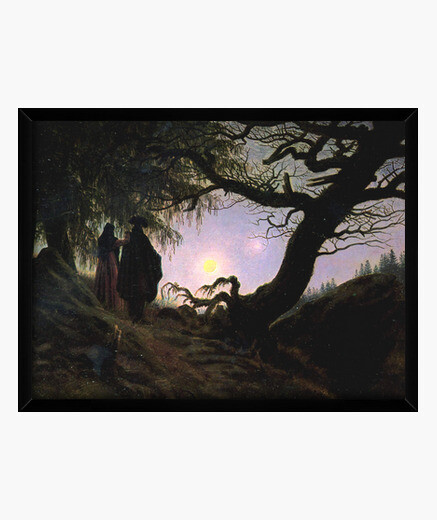 Man and woman contemplating the moon framed print