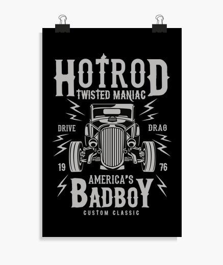 Poster manifesto americano classico auto hotrod