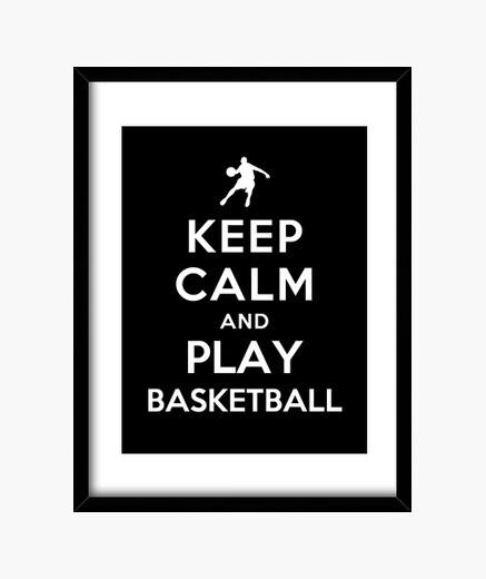 Cuadro mantén la calma y juega baloncesto