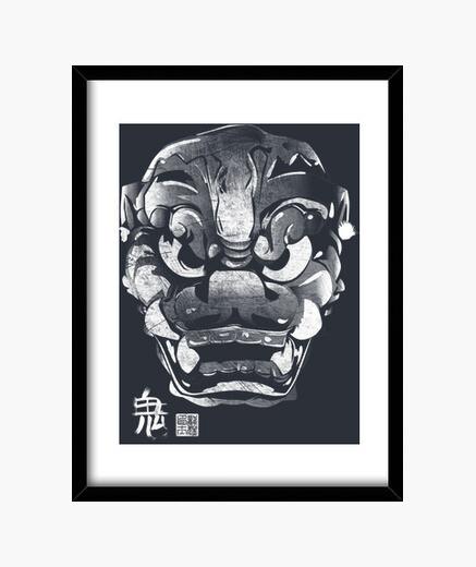 Cuadro Máscara Japonesa Demonio Kanji Blanco