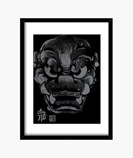 Cuadro Máscara Japonesa Demonio Kanji Gris