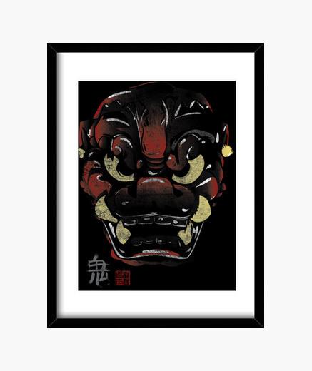 Cadre masque japonaise démon kanji