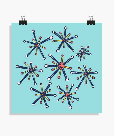 Poster molécules de virus rétro moderne amusan