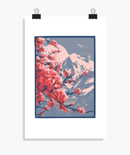 Poster montagne de fleurs de cerisier