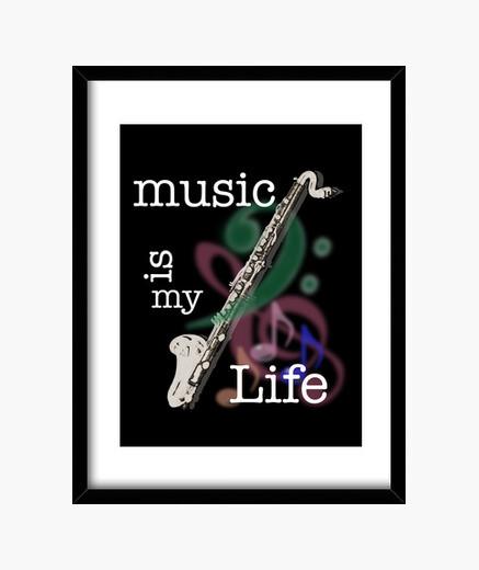 Music ia my life - bass clarinet framed print