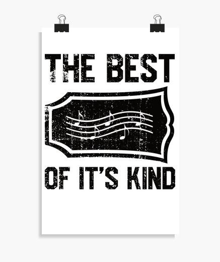 Póster notas musicales en la cabeza de la...