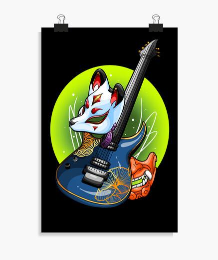 Póster oni kitsune guitarra