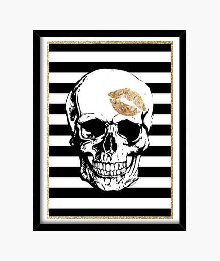 Cadre or  tête de mort  baiser