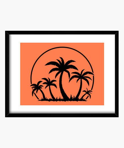 Cadre palmiers et coucher de soleil en noir