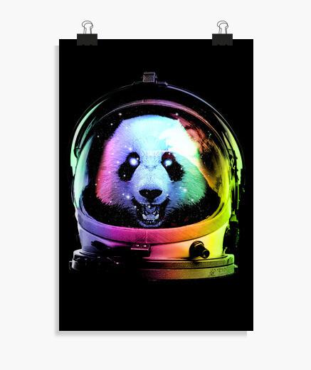 Póster panda de astronauta