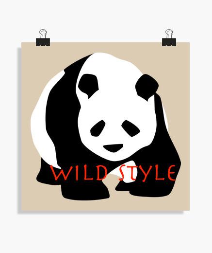 Póster panda de estilo salvaje