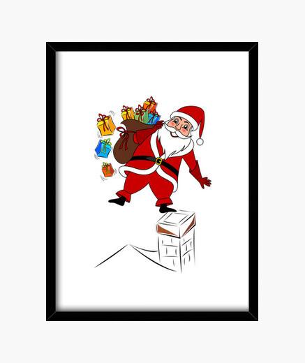 Cuadro Papá Noel con regalos
