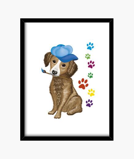 Cuadro pintor perro