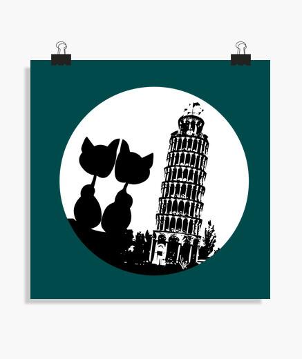 Póster Pisa Moon Love Cats