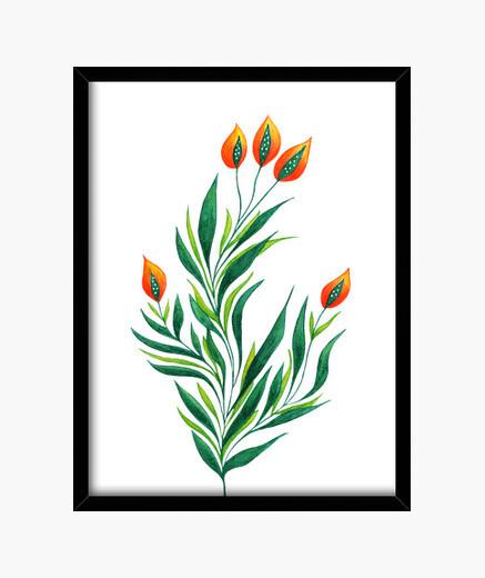 Cuadro planta verde con brotes de naranja