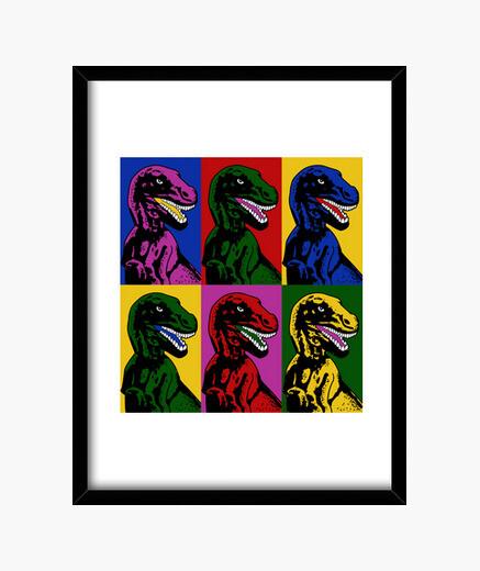 Pop art dinosaur framed print