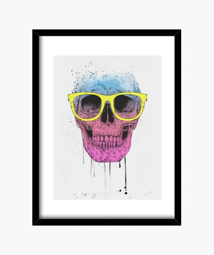 Quadro pop art skull con gli occhiali