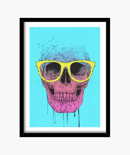 Quadro pop art skull con scatola occhiali