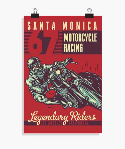 Póster 1967 Vintage Bikers Santa Mónica...