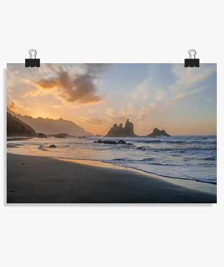 Póster Atardecer playa de Benijo