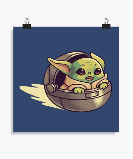 Póster Baby Yoda Mandalorian Flying