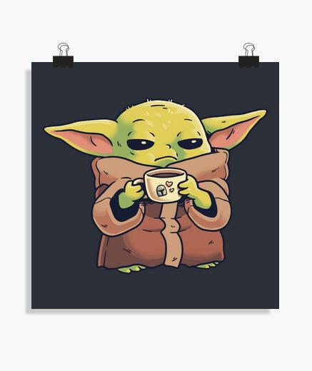 Póster Baby Yoda Mandalorian Morning Coffee