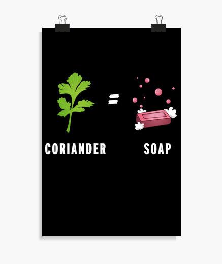 Póster cilantro es igual a jabón regalo...