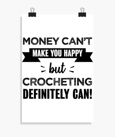 Póster crochet te hace feliz regalo...