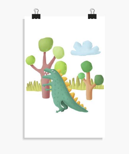 Póster Poster dinosaurio habitación niño