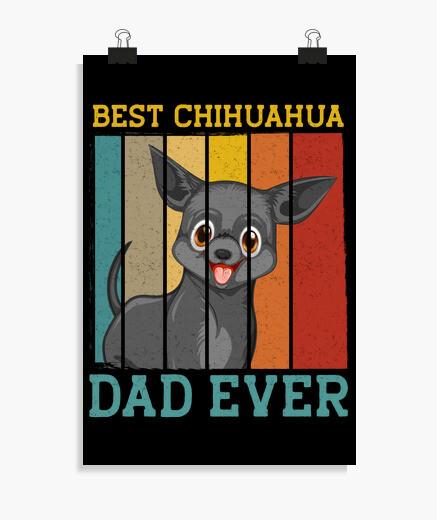 Poster miglior papà chihuahua mai retrò