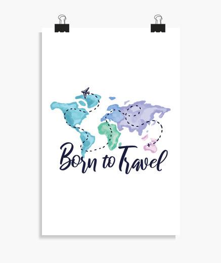 Poster nato per viaggiare ad acquerello