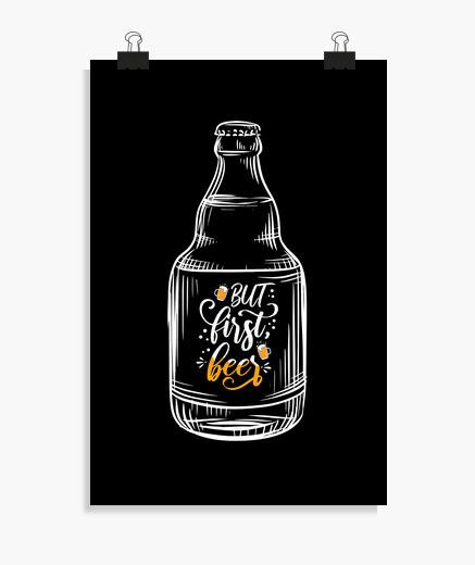 Póster pero primera botella de cerveza