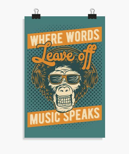Póster Retro Música Monos Humor Music...